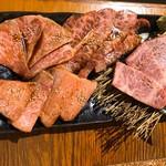 117729683 - 松阪牛3種盛り合わせの七輪炭火焼
