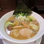 山麺 - 【(限定) 鮭のちゃんちゃん焼風らーめん + 煮玉子】¥830 + ¥100