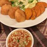 タイ料理 パヤオ - トード盛り合わせ Assorted Thod (薩摩揚げと海老のすり身揚げ2種盛り合わせ)