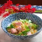 桜小町 - 秋のおすすめパスタメニュー「秋鮭といくらのわさびクリームパスタ」