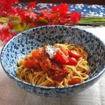 桜小町 - 秋のおすすめパスタメニュー「四種類のトマトのバジル風味 マスカルポーネを添えて」