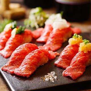 【炙り肉寿司】一口頬張れば舌の上でトロける程の柔らかさ♪