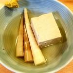 くいものや呂久 - 豆腐 100円/竹の子 150円