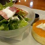 星乃珈琲店 - 料理写真:モーニング  パンケーキ&サラダ  ドリンク付き  480円+税