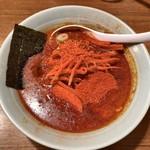 麺通 - 料理写真:カラフトらーめん(辛背油)半麺こってりで 780円 辛さ2倍 20円