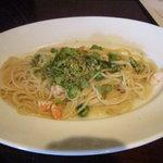 ハージーズ - 海老とオクラ・ふきのとうのオイルスパゲッティ