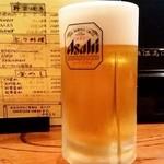 117866963 - 丸八焼鳥店 平和通り店@甲府 生ビール中(630円外)