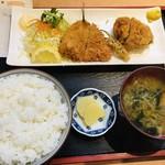 味食道 引田屋 - 料理写真:アジ・メンチカツ定食