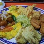 11798768 - 永楽ランチ(肉団子の甘酢、卵焼き、海老天、唐揚、豚天)スープ、ライス