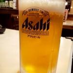 焼肉 輝 - ドリンク写真:生ビール大 1,000円・・・中にしか見えん(汗)