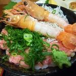 漁師のおかず海老や - 三色丼 ( あかざ海老・ねぎとろ・釜揚げしらす )