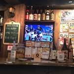 牡蠣酒場 すずきんち - 店内のテレビ (ラグビー日本vs南アフリカ戦)