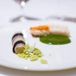 レストラン サンパウ - 鮃の漆仕立て、エリンギのカネロニ