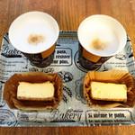 山田牧場 - カフェラテとチーズケーキ