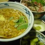 望郷の湯 - 料理写真:かき玉うどん・中落ち丼