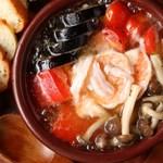 ケセランパサラン - エビと野菜のアヒージョ