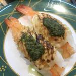 うず潮 - 大海老ジェノベーゼ330円。他のお客様が、こればかり食べていたのを見て、手に取りました(笑)。ぷりぷりの海老が、バジルソース、マヨネーズと相性良く、とても美味しくいただきました(╹◡╹)