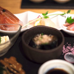 KINKA sushi bar izakaya - 刺身四種・小鉢三種
