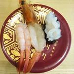 金沢回転寿司 輝らり - 北陸海老三味880円