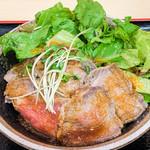 完全個室くずし肉割烹 ○喜 - ローストビーフ丼(大盛) アップ