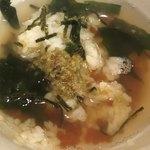 青森県むつ下北半島 - しじみ汁をかけてお茶漬けにしました。いくらですが、白濁はせず。