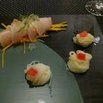 ポム・ダダン - 前菜はオリーブハマチと小豆島素麺