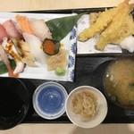 鯛将丸 - 上握りと天ぷら定食1280円