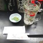 みどりや - トリハイとお通しの刺身コンニャク