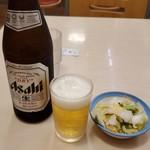 松屋 - アサヒスーパードライ中瓶490円+お新香90円
