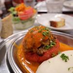 コンコンブル - 丸ごとトマトの肉詰めロースト(1200円)
