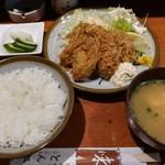 とん松 - サービスランチ カキフライ定食