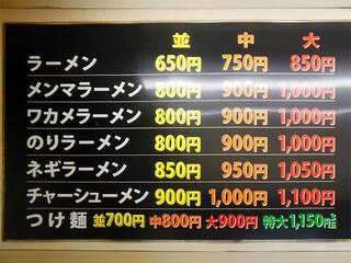 なかむら屋 - メニュー表