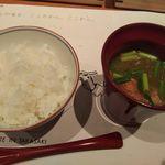 ホワイトイン高崎 スラッシュカフェ - ご飯・味噌汁(ぐんまのご馳走 WAZA SUKIYAKI)