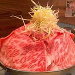 Taishuuwagyuusakabakonroyashimofuriwagyuunabetokoubegyuuhorumonteppanyaki - 霜降り和牛鍋 @2,280円×2