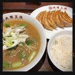 大阪王将 - 葱生姜味噌ラーメン餃子定食 770円