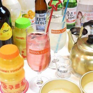 ビール・ジョウンデー・マコッリまで本場韓国のお酒をご用意◎