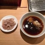 天麩羅処ひらお - イカの塩辛と天つゆ