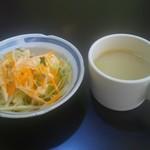 ミラン レストラン - 料理写真:右…来店時に運ばれてきたスープ かき混ぜないと後でしょっぱい 左…サラダ
