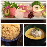 118589414 - お刺身、松茸ご飯、南瓜のレアチーズ