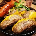 いしがまやハンバーグ - プレミアムハンバーグW+チョリソー+チェダチーズ