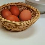 118606563 - 卓上には無料の生卵が常備
