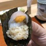 鮨旬美西川 - スペシャリテ 雲丹とイカの手巻き鮨
