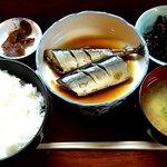 山根 - お食事処 山根 @中板橋 煮魚定食 650円 (さんまの煮つけ)
