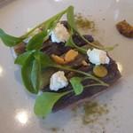 Suzu - マー坊茄子と低温で火入れした仔牛のカルパッチョ、リコッタチーズとほおずき
