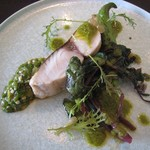 Suzu - 本日の鮮魚(サワラ)のソテー/つるむらさき/ピーマン/唐辛子
