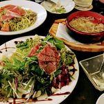 サニーサイド - 料理写真:生ハムサラダ、キノコのアヒージョ、ジェノベーゼパスタ
