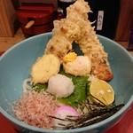 udonizakayaamamenzou - 竹輪天半熟卵天ぶっかけうどん