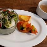 パスタヤ - 料理写真:「1日10食限定セットランチ」アラカルトプレートのビーンズサラダ・キッシュ・サーモンのソテーマリネ風とスープ