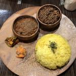 マサラ食堂 - 2種盛 チキン+キーマ♪