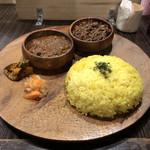 マサラ食堂 - 2種盛 チキン+キーマ(別アングル)♪
